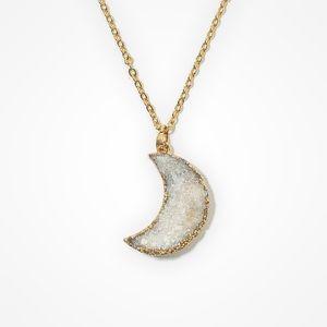 Iridescent White Druzy Delicate Chain Necklace